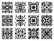 Ethnic patterns in the form of tiles black and white. Asian or celtic ethnic patterns for decoration in the form of tiles black and white Stock Images