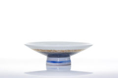 Asian ceramics cups on white with reflection, Clipping path Royalty Free Stock Photos