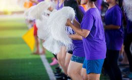Asian cheerleader team on green artificial turf royalty free stock photo