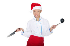 Asian chef in christmas cap with container Royalty Free Stock Image