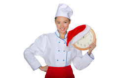 Asian chef before christmas. Isolated on white Royalty Free Stock Images