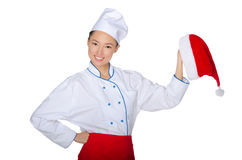 Asian chef invites to a Christmas party Royalty Free Stock Images
