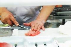 Asian Chef live cook Japanese food sushi and sashimi