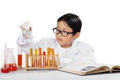 Asian chemist using dropper Stock Image