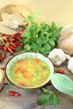 Asian chicken consomme with parsley. Asian Gefl�gelconsomme with mixed vegetables and parsley Stock Image