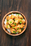 Asian chicken meat with orange sause and green onion, top view Royalty Free Stock Photography