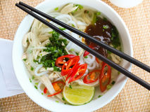 Asian chicken rice noodle soup Stock Image