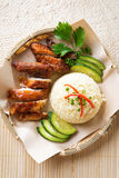 Asian chicken rice. Stock Photo
