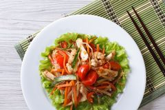 Asian chicken salad with vegetables close-up top view Stock Images