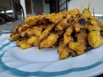 Chicken skewer. Asian chicken satay Stock Photos