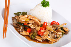 Asian chicken. With vegetables and rice Stock Photography