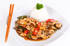 Asian chicken. With vegetables and rice Royalty Free Stock Photography