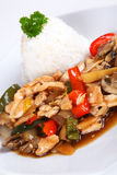 Asian chicken. With vegetables and rice Stock Image