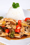 Asian chicken. With vegetables and rice Royalty Free Stock Image