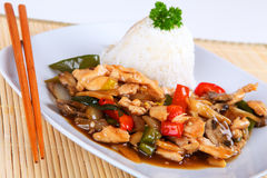 Asian chicken. With vegetables and rice Royalty Free Stock Photo