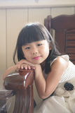 Asian child. Portrait of little Asian girl in white gown dress Stock Photos