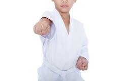 Asian child athletes martial art taekwondo training, isolated on Stock Photos