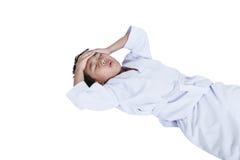 Asian child athletes taekwondo hurt the forehead. Isolated on wh Royalty Free Stock Photo