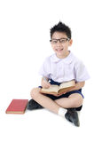 Asian child boy in student's uniform on isolated background Royalty Free Stock Images