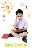 Asian child boy in student's uniform on isolated background Stock Image