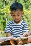 Asian Child Concentrate to Read A Book. Asian child concentrate to read a book outdoor Royalty Free Stock Image