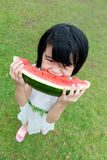 Asian child eating watermelon Stock Photography