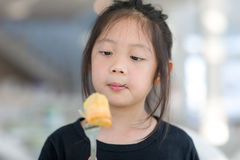 Asian Child Enjoy Eating Food, Fried Spring Roll Royalty Free Stock Images