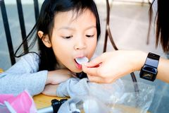 Asian child girl with fever, stock photo