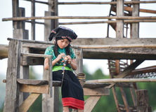Asian child girl Knitting Royalty Free Stock Image