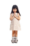 Asian child greeting with sawasdee Royalty Free Stock Image