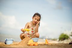 Asian Child Happy Play On The Beach stock image