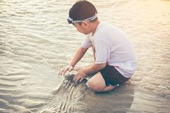 Asian child has fun digging in the sand. Young boy enjoying on b Royalty Free Stock Image
