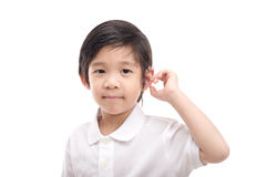 Asian child with hearing aid. Cute Asian child with hearing aid on white background isolated Stock Photos