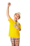 Asian child holding money while standing isolated on white backg. Successful Asian child. Happy child with white hat holding money, isolated on white background Royalty Free Stock Photography