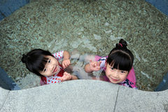 Asian child in Hot spring Royalty Free Stock Images