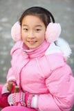 Asian child ice-skating Royalty Free Stock Photo