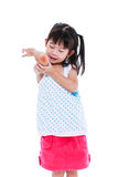 Asian child injured at  elbow. Isolated on white background. Sad japanese child in pink skirt injured at elbow. Pretty girl looking bruise. Isolated on white Royalty Free Stock Photo