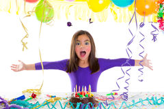 Asian child kid girl in birthday party. Happy gesture and chocolate cake Stock Images