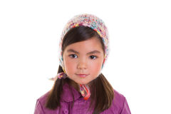 Asian child kid girl winter portrait purple coat and wool cap. On white background royalty free stock photography