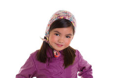 Asian child kid girl winter portrait purple coat and wool cap. On white background Stock Photos