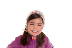 Asian child kid girl winter portrait purple coat and wool cap. On white background stock photography