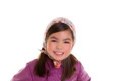 Asian child kid girl winter portrait purple coat and wool cap Stock Photography