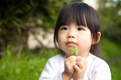 Asian child with a leaf on hand Royalty Free Stock Photos
