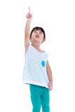 Asian child pointing surprised face. Isolated on white backgroun Stock Photography