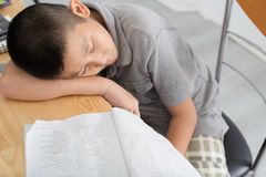 Asian child of primary school age do homework. The boy does his homework at his desk at home. The student / pupil has been bored on the lesson. Child fell Stock Image