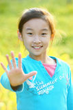 Asian child stop hand Royalty Free Stock Photography