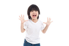 Asian child  is suprised and so happy about it Royalty Free Stock Images