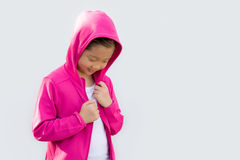 Asian Child in Sweater Isolated on White royalty free stock images