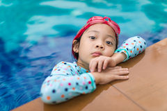 Asian Child in Swimming Pool Stock Photos