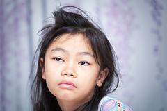 Asian child to sleepy. In a moring alarm stock photos